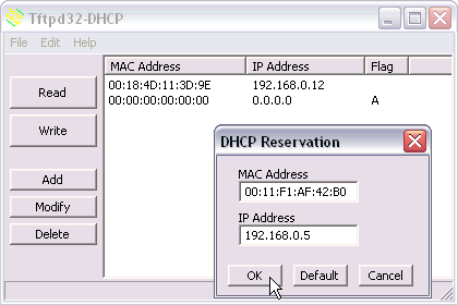 Tftpd32DHCP screen capture